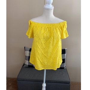 By&By Yellow Eyelet Lace Off Shoulder Top Large